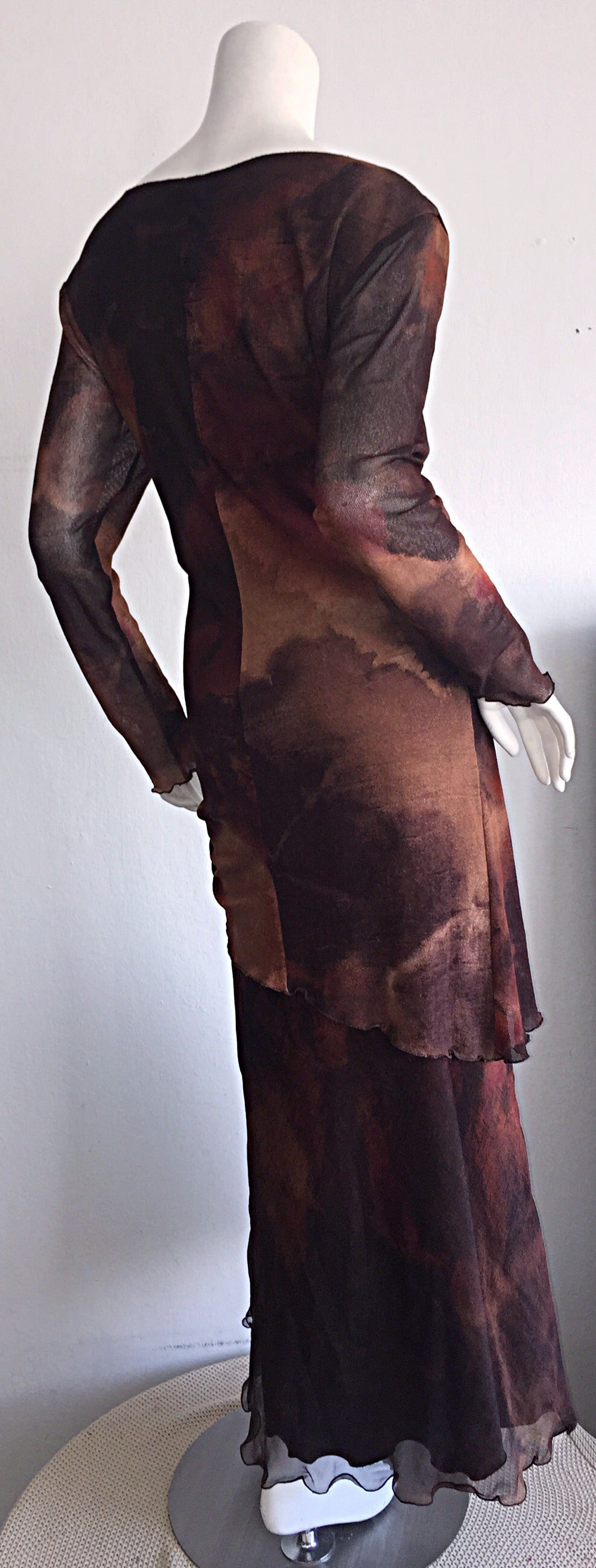 Vintage Beppe Bondi Autumnal Silk Watercolor Long Sleeve Dress / Made in Italy 5