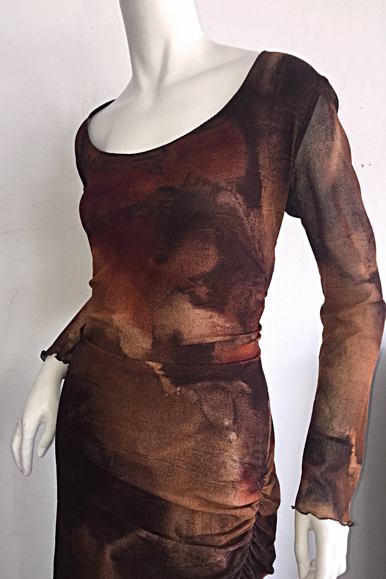 Vintage Beppe Bondi Autumnal Silk Watercolor Long Sleeve Dress / Made in Italy 6