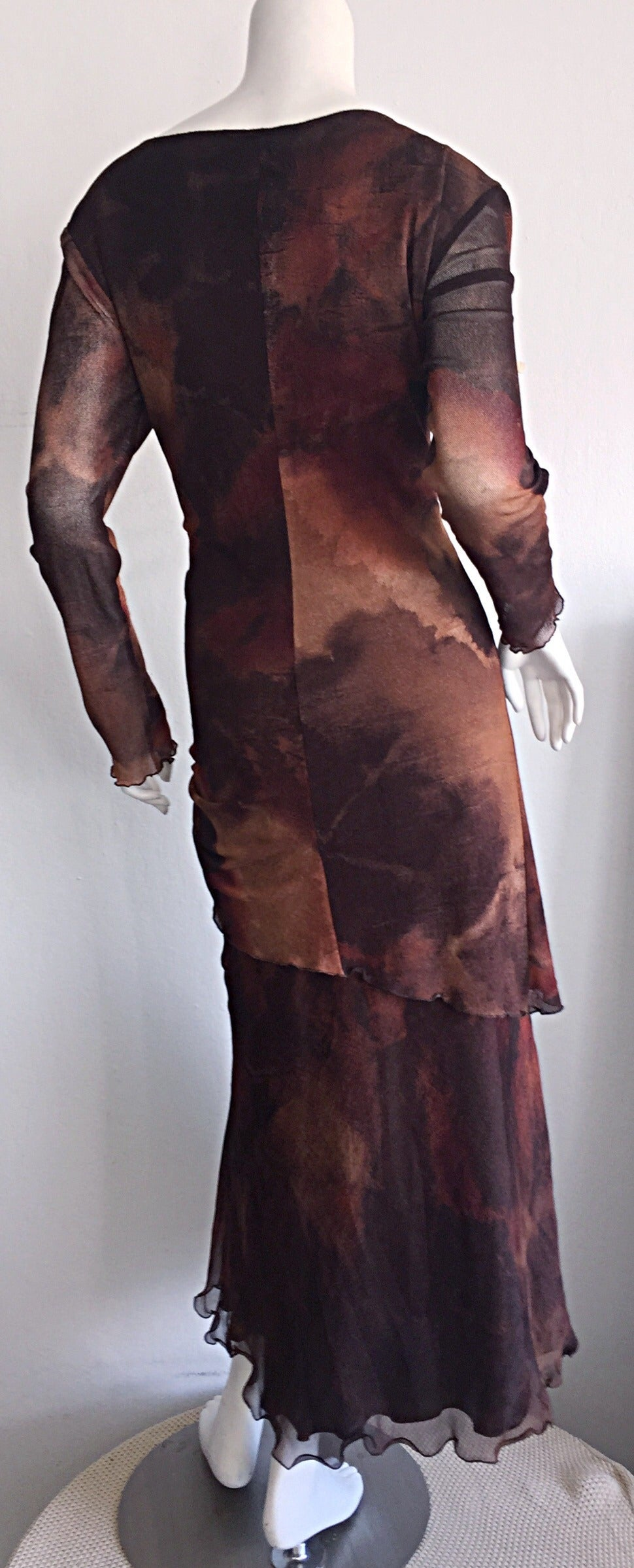 Vintage Beppe Bondi Autumnal Silk Watercolor Long Sleeve Dress / Made in Italy 7