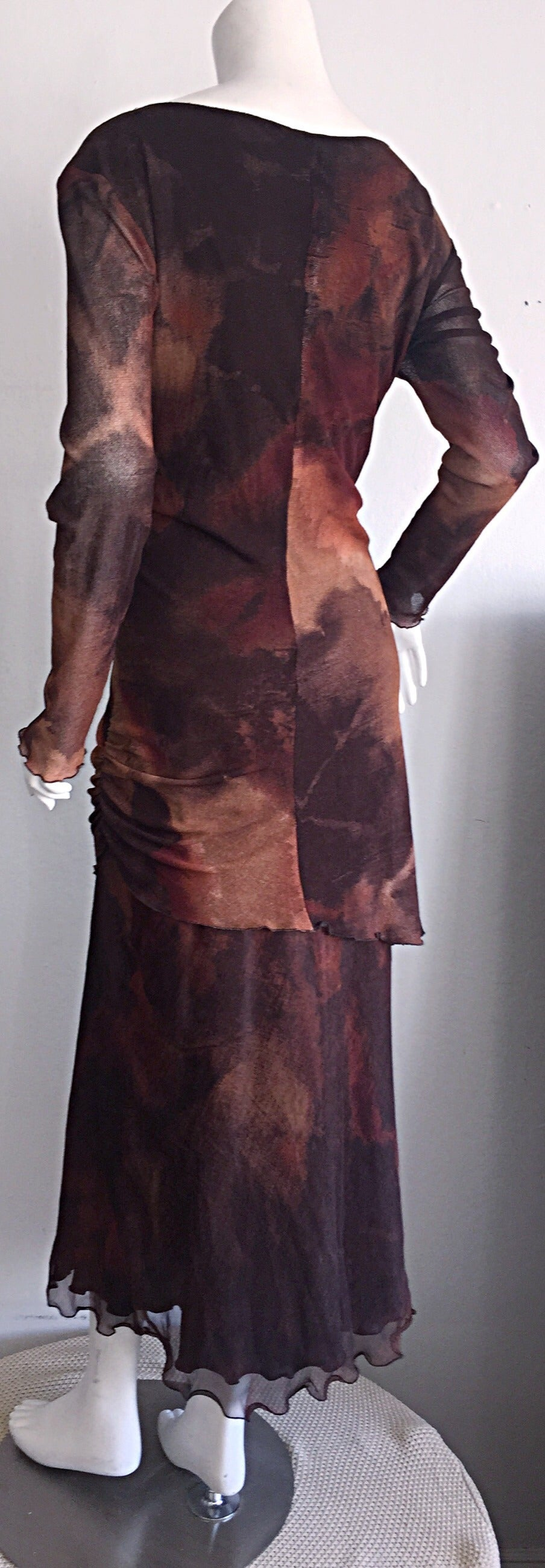 Vintage Beppe Bondi Autumnal Silk Watercolor Long Sleeve Dress / Made in Italy 8