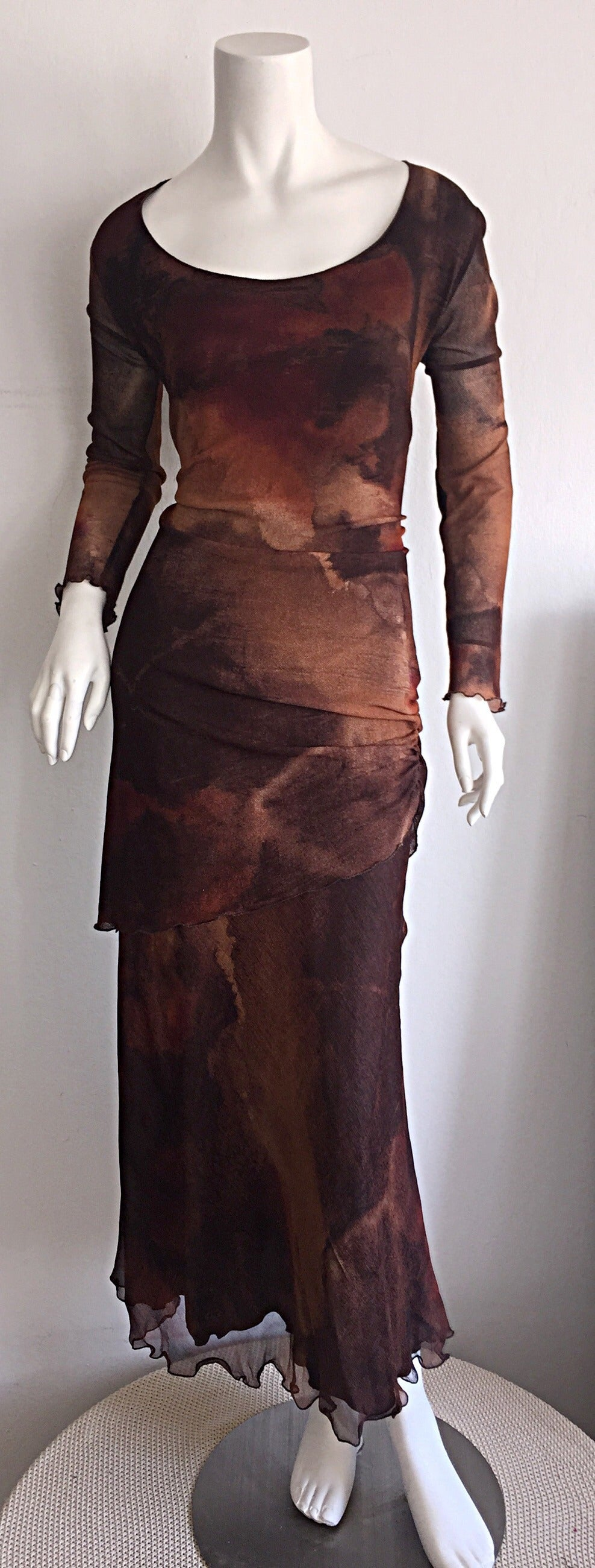 Vintage Beppe Bondi Autumnal Silk Watercolor Long Sleeve Dress / Made in Italy 9