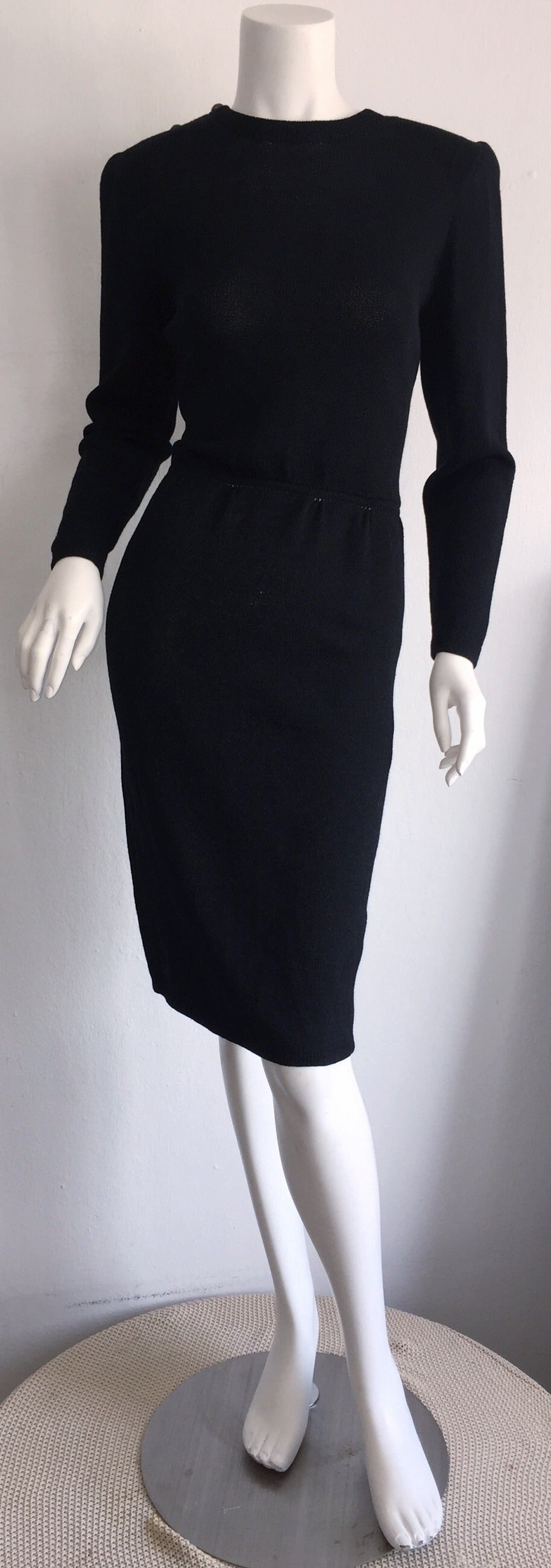 Vintage St. John Neiman Marcus Black Dress w/ Sheer Sparkle Zebra Back 3