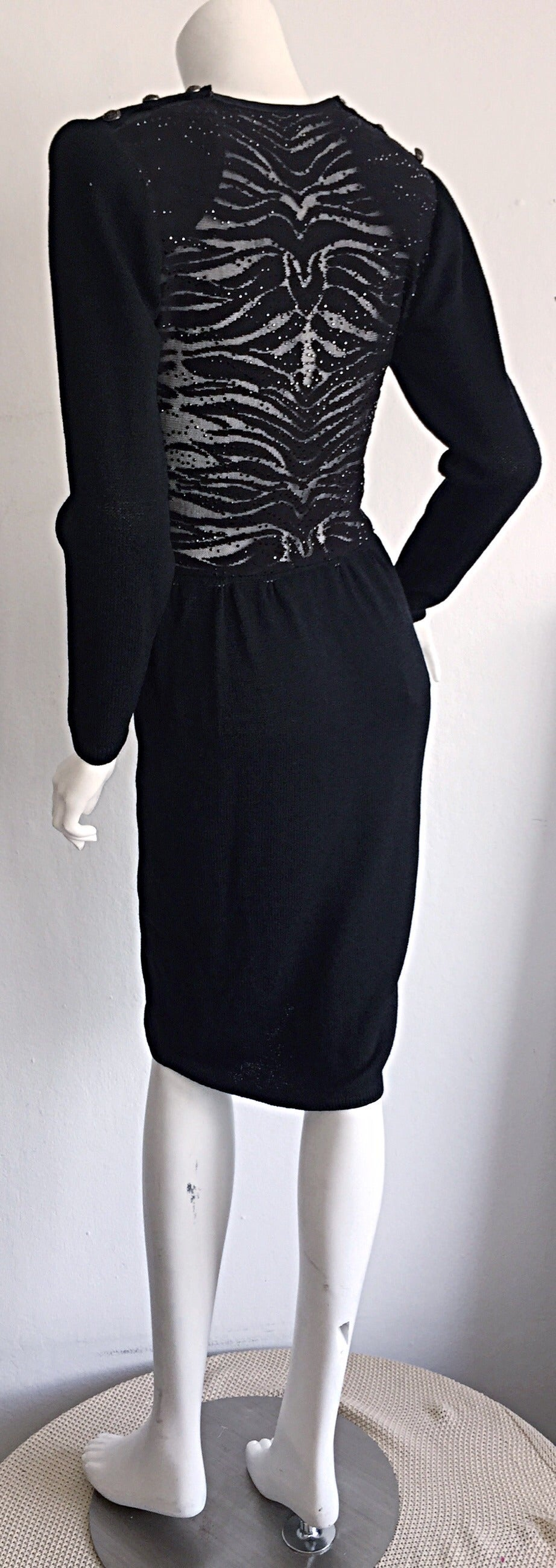 Vintage St. John Neiman Marcus Black Dress w/ Sheer Sparkle Zebra Back 4