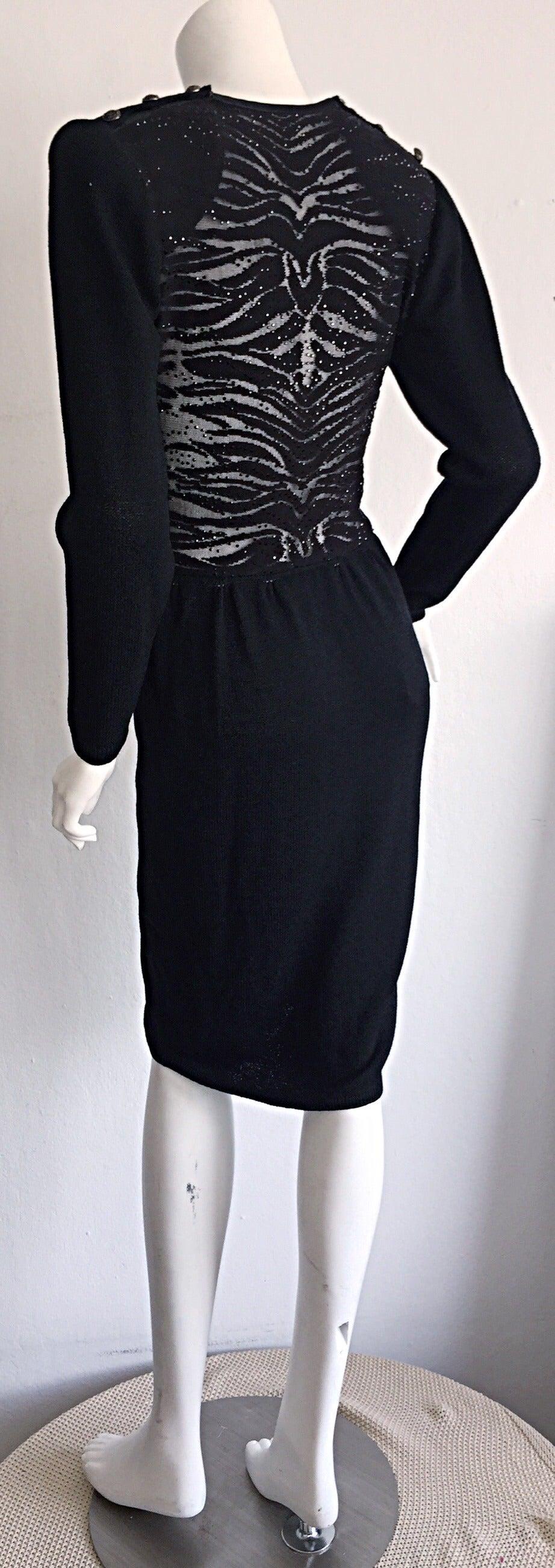 Women's Vintage St. John Neiman Marcus Black Dress w/ Sheer Sparkle Zebra Back For Sale