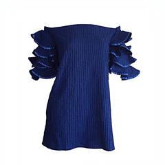 Vintage Tachi Castillo Blue Cotton Ruffle Prairie Tiered Sleeves Mexican Blouse
