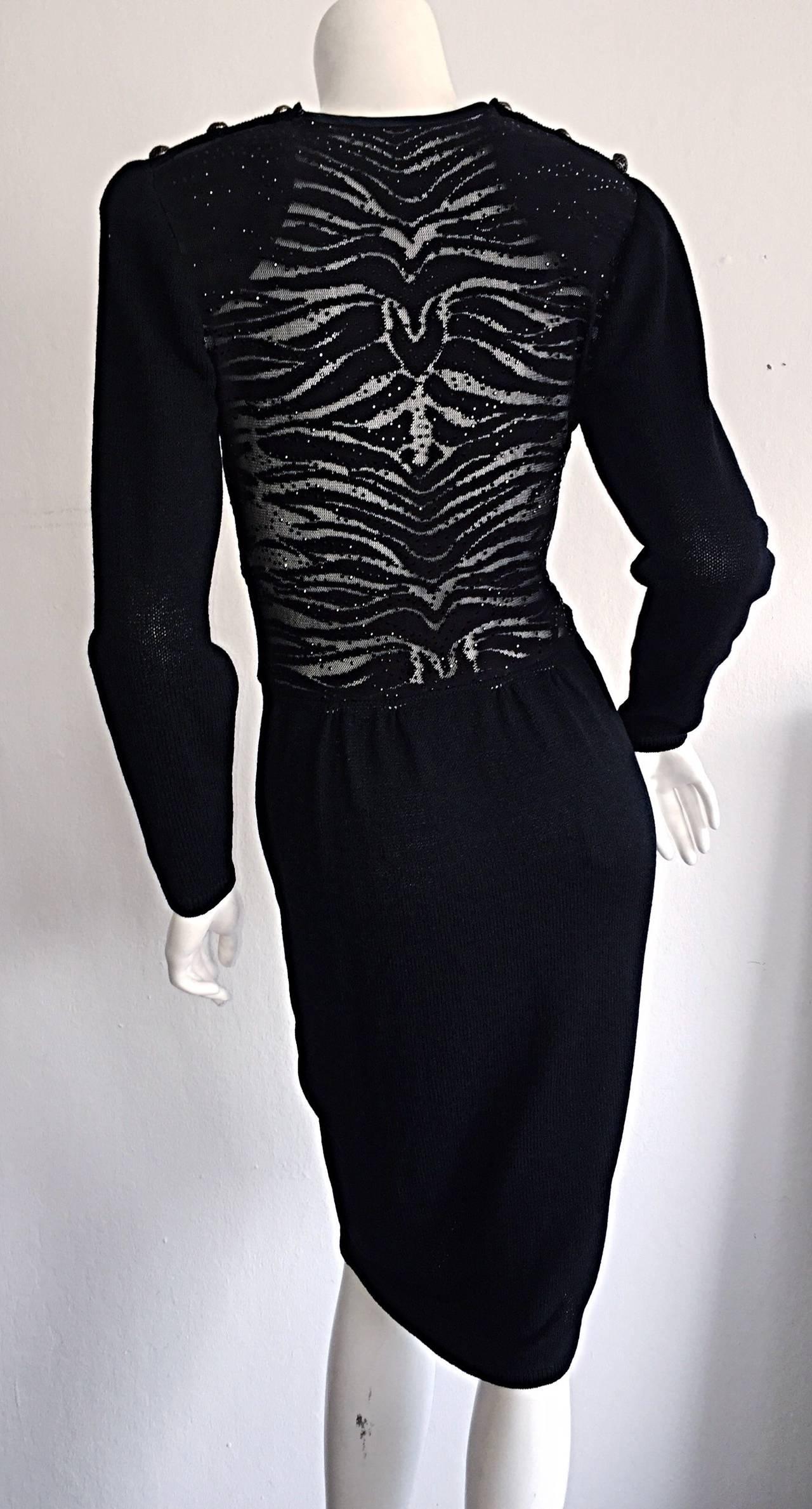 Vintage St. John Neiman Marcus Black Dress w/ Sheer Sparkle Zebra Back For Sale 1