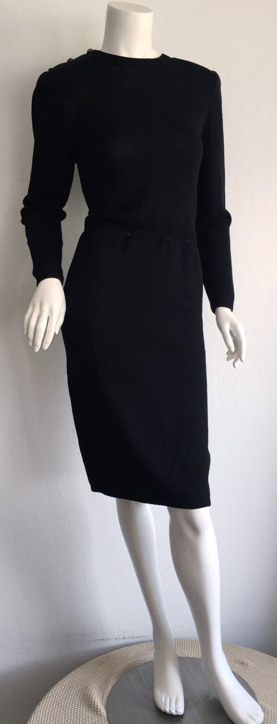 Vintage St. John Neiman Marcus Black Dress w/ Sheer Sparkle Zebra Back 6