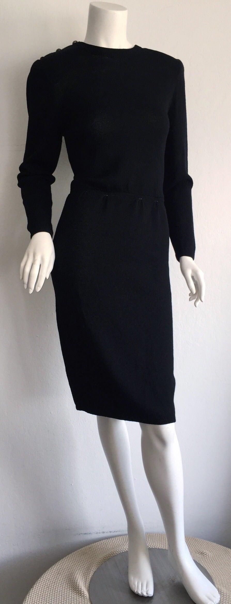 Vintage St. John Neiman Marcus Black Dress w/ Sheer Sparkle Zebra Back For Sale 2