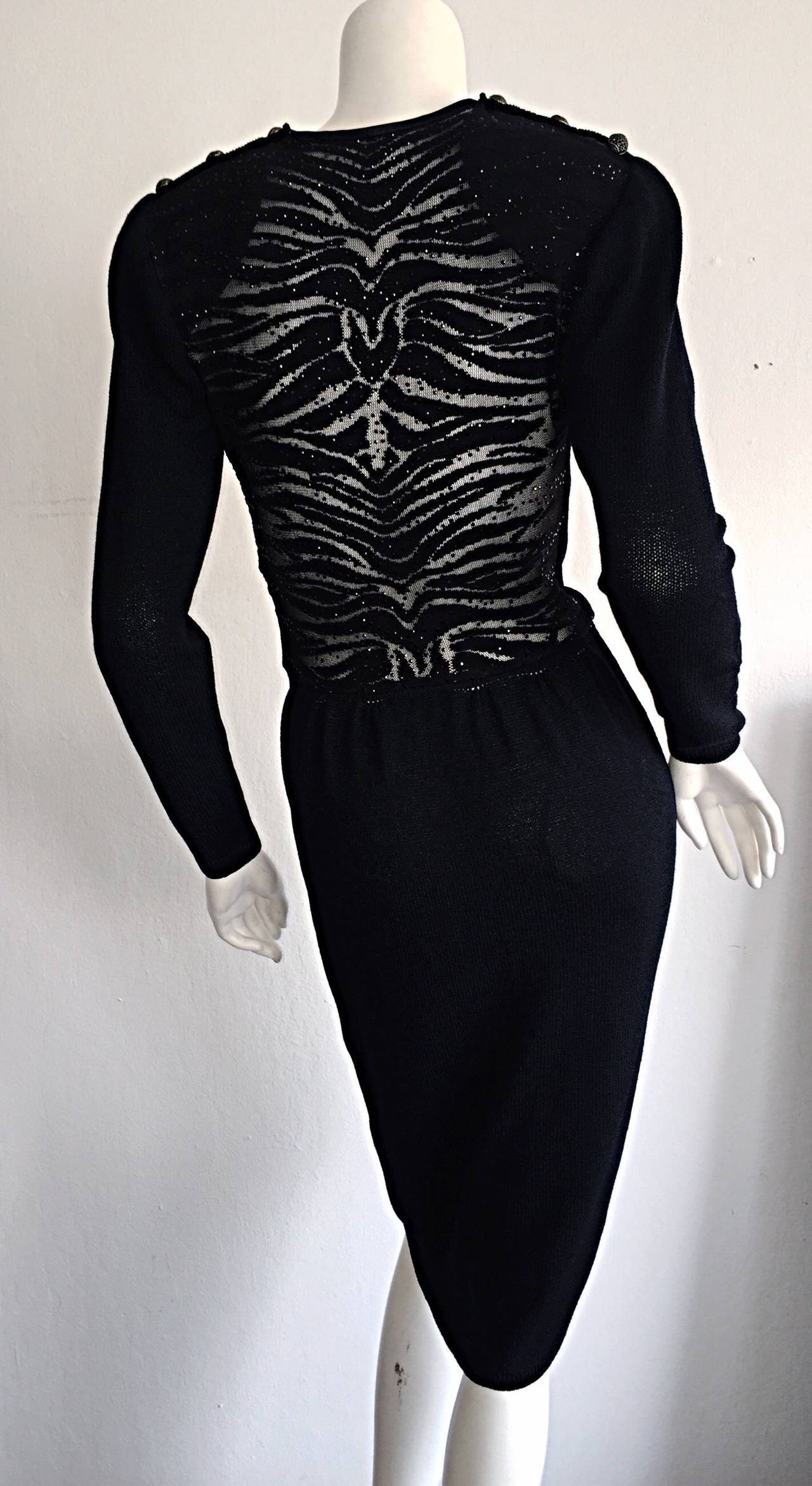 Vintage St. John Neiman Marcus Black Dress w/ Sheer Sparkle Zebra Back 7