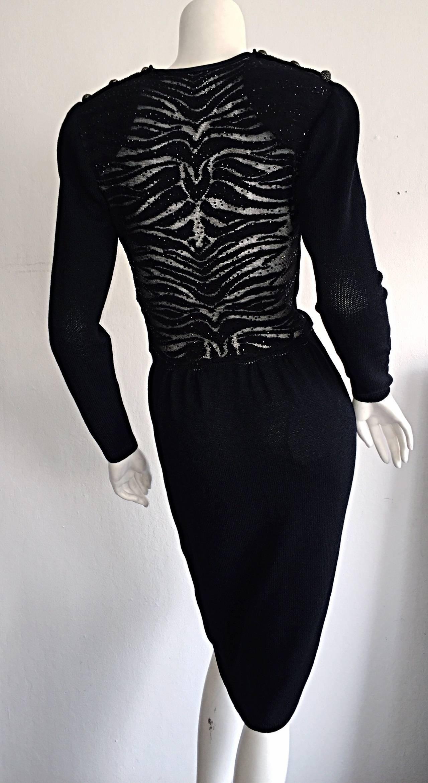 Vintage St. John Neiman Marcus Black Dress w/ Sheer Sparkle Zebra Back For Sale 3