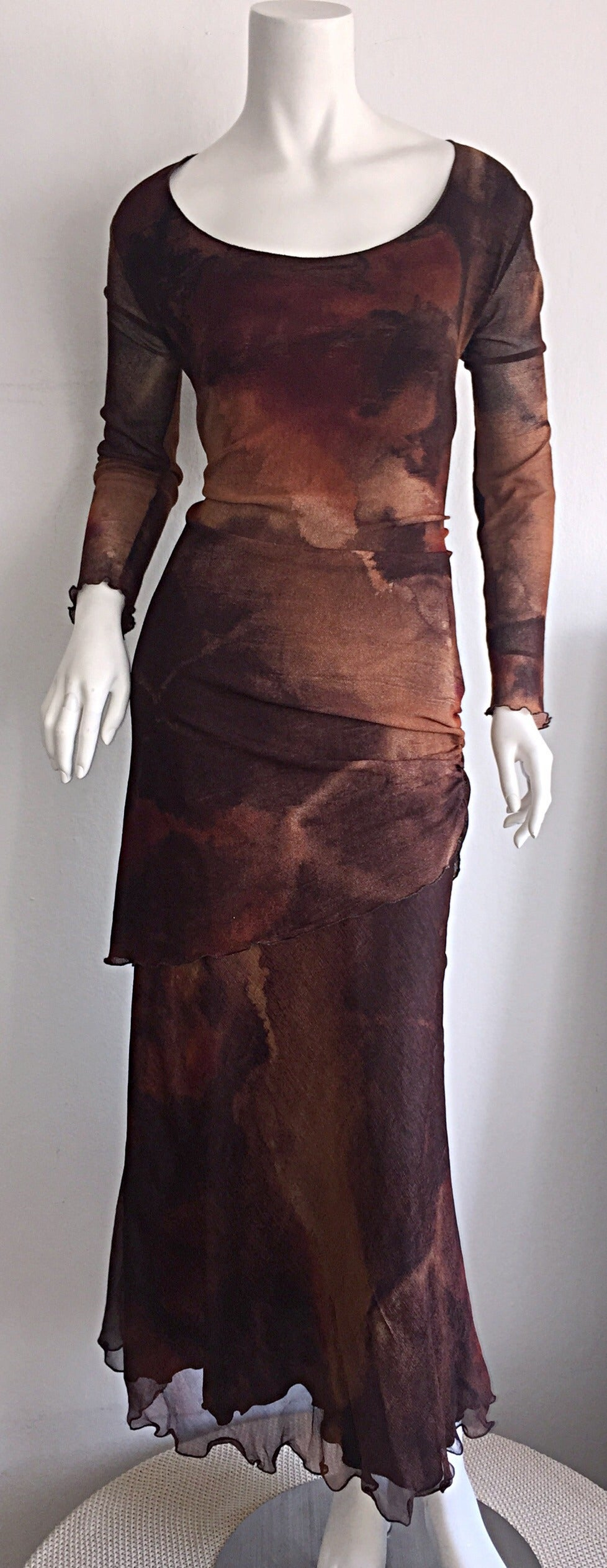 Vintage Beppe Bondi Autumnal Silk Watercolor Long Sleeve Dress / Made in Italy 2