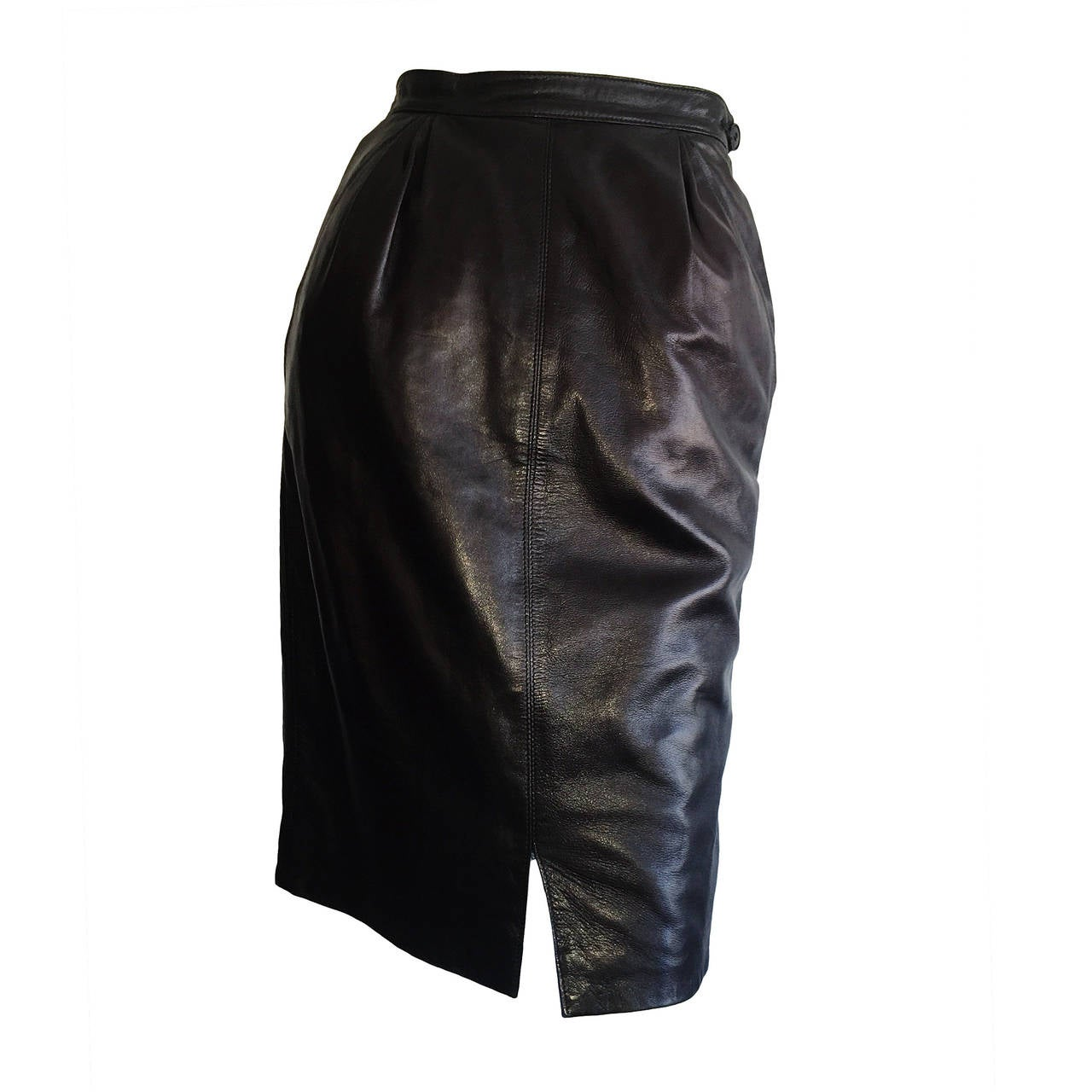 Sexy Vintage Yves Saint Laurent Leather High Waisted Black Pencil ...