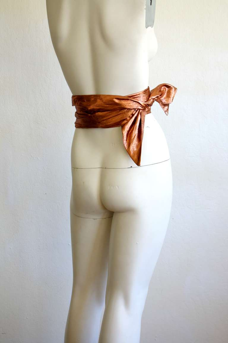 Lanvin Vintage Obi Raw Silk Jumbo Extra Long Wrap Belt 4