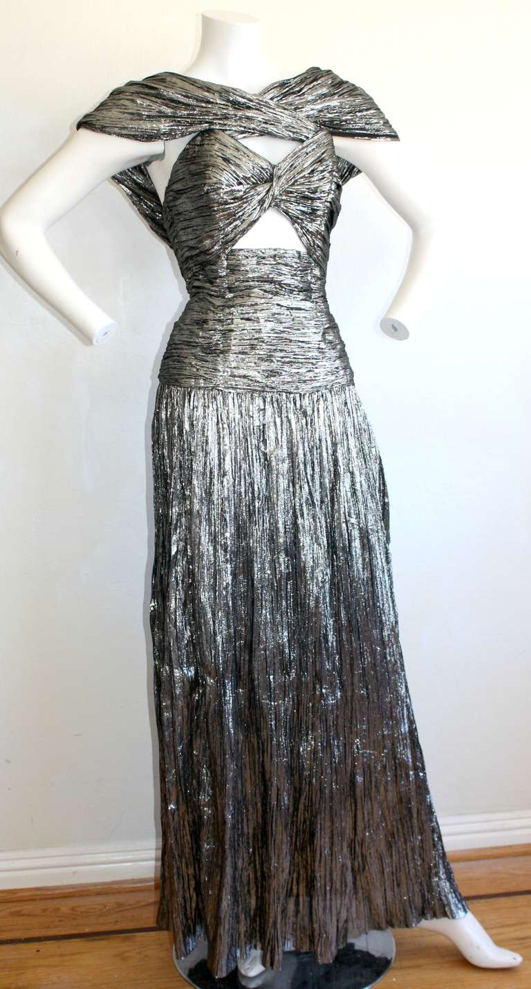 Vintage ted lapidus haute couture silver metallic sexy cut for Haute couture cost