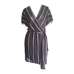Wonderful Vintage Calvin Klein Collection Bamboo Stripe Silk Kimono Wrap Dress