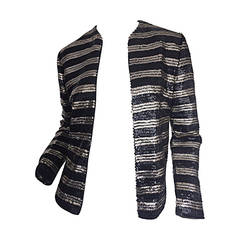1950s Malbe Original Black + White Gold All Over Sequin Cardigan Sweater Jacket