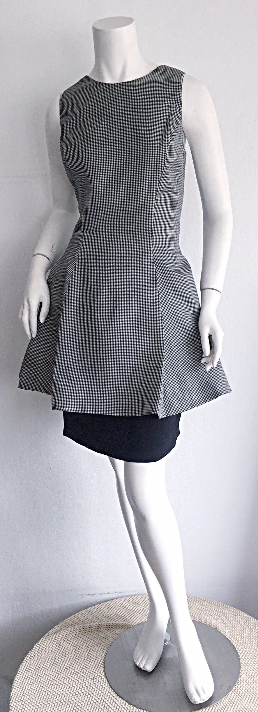 Vintage James Purcell Black + White Silk Gingham Fit N' Flare Dress Size 8 2