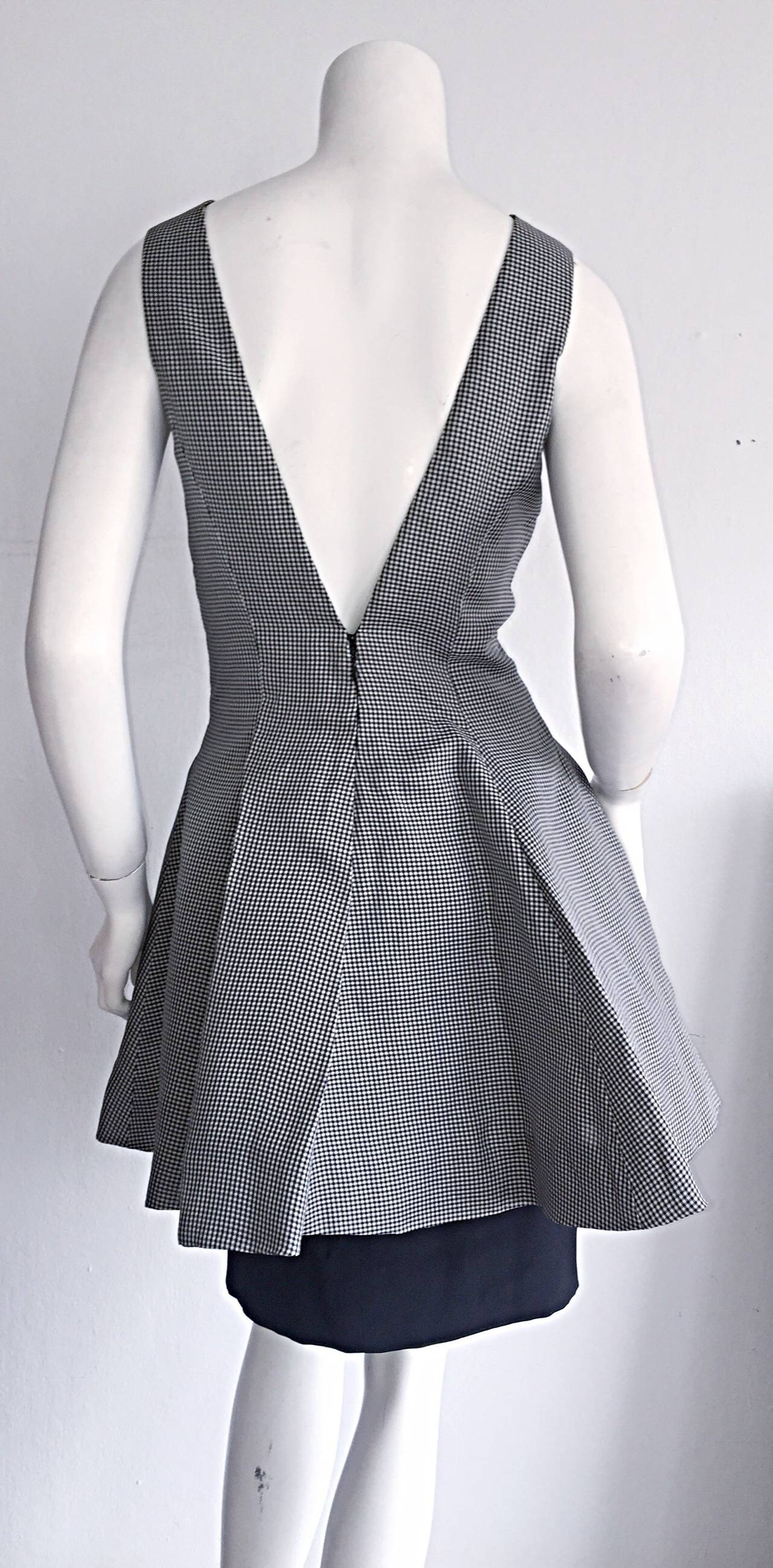 Vintage James Purcell Black + White Silk Gingham Fit N' Flare Dress Size 8 3