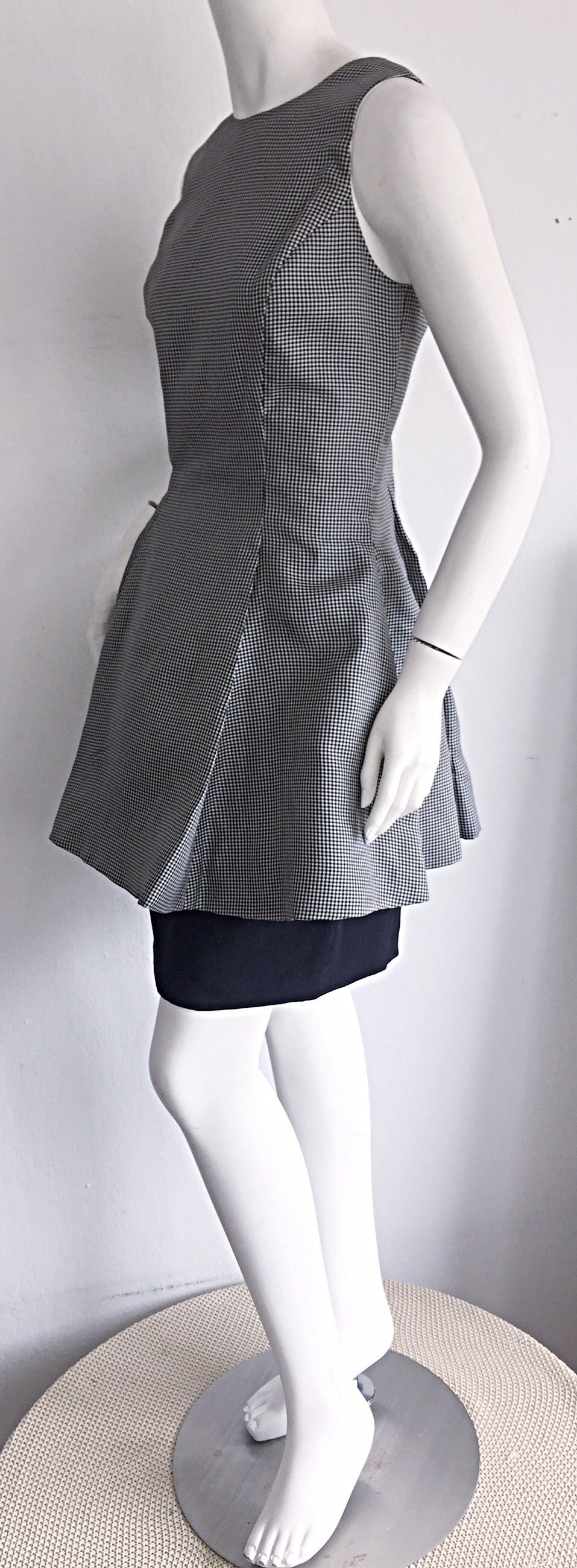 Vintage James Purcell Black + White Silk Gingham Fit N' Flare Dress Size 8 4