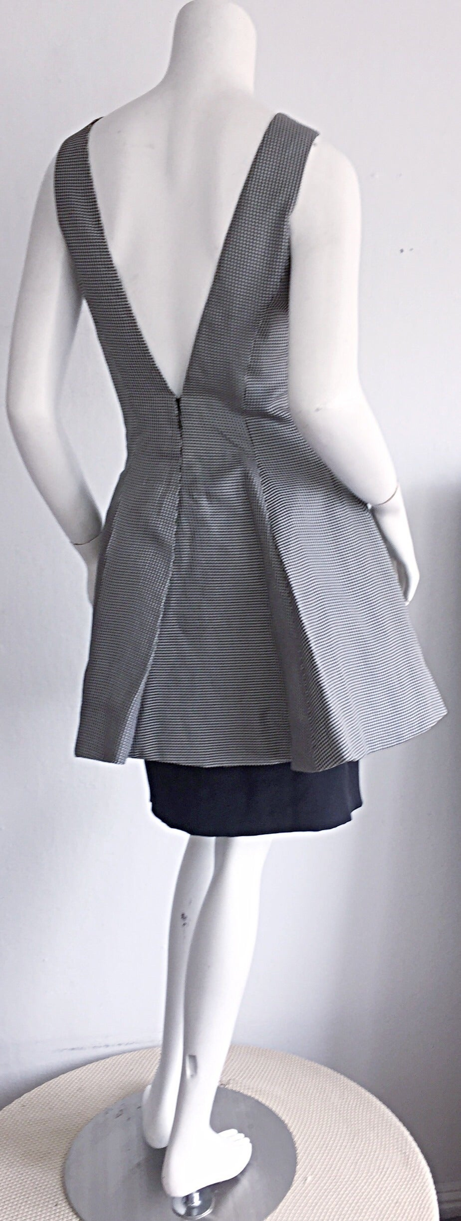 Vintage James Purcell Black + White Silk Gingham Fit N' Flare Dress Size 8 5