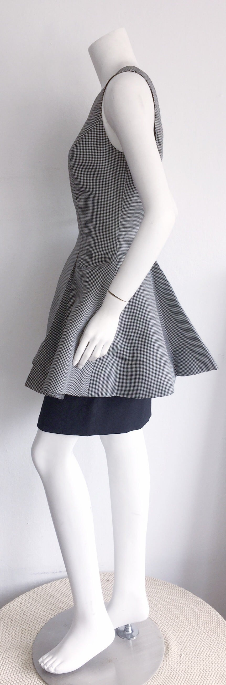 Vintage James Purcell Black + White Silk Gingham Fit N' Flare Dress Size 8 7