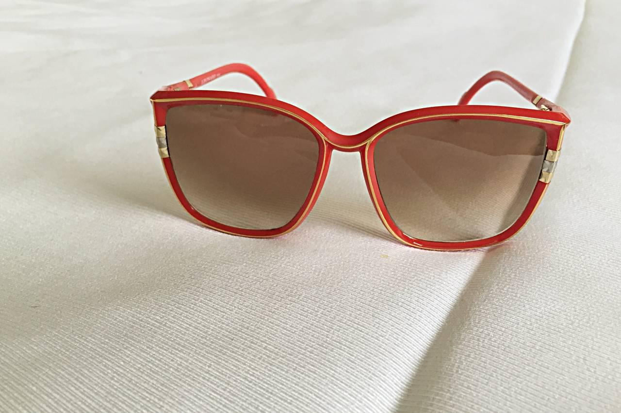 1970s Leonard Vintage Red Cat Eye Oversized Runway Sunglasses / Glasses 6