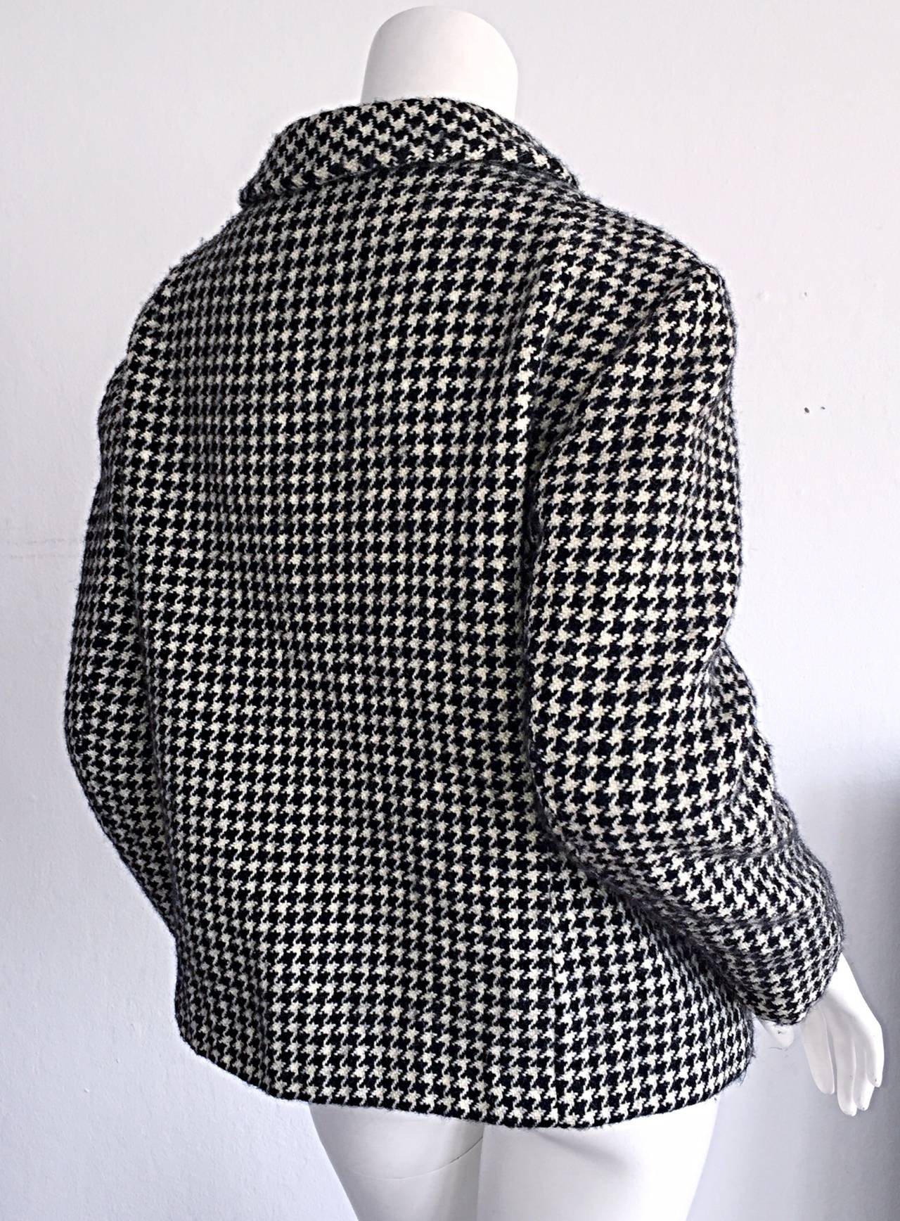 1960s Pierre Cardin Black + White Houndstooth Space Age Jacket For Sale 2