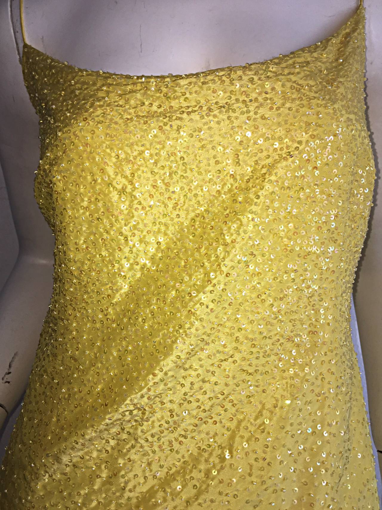 Beige Beautiful 1990s Vintage Donna Karan Canary Yellow Beaded Sequin Silk Dress For Sale