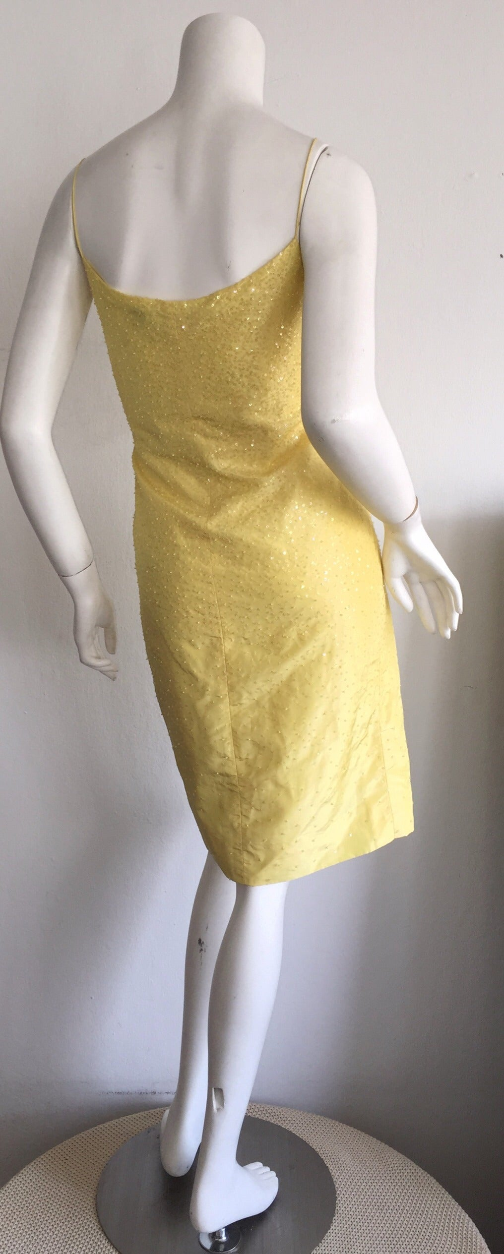 Beautiful 1990s Vintage Donna Karan Canary Yellow Beaded Sequin Silk Dress In Excellent Condition For Sale In San Francisco, CA