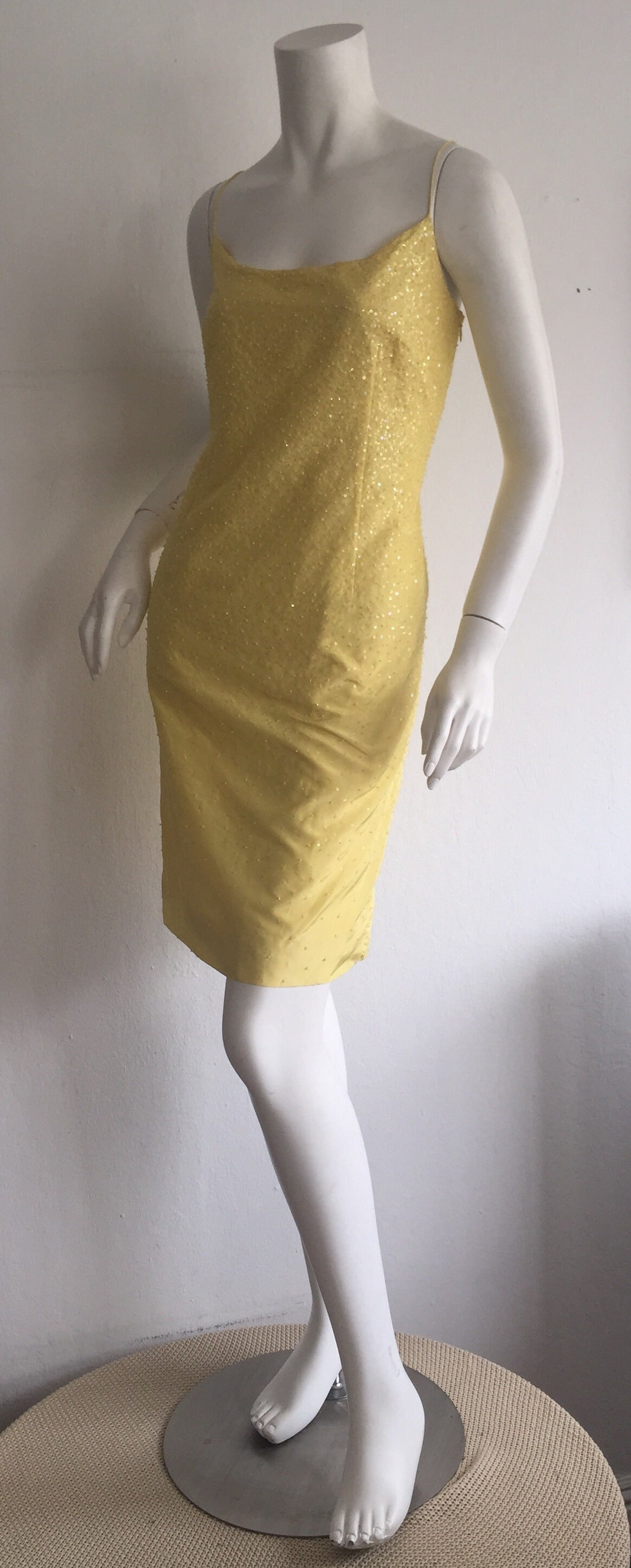 Women's Beautiful 1990s Vintage Donna Karan Canary Yellow Beaded Sequin Silk Dress For Sale