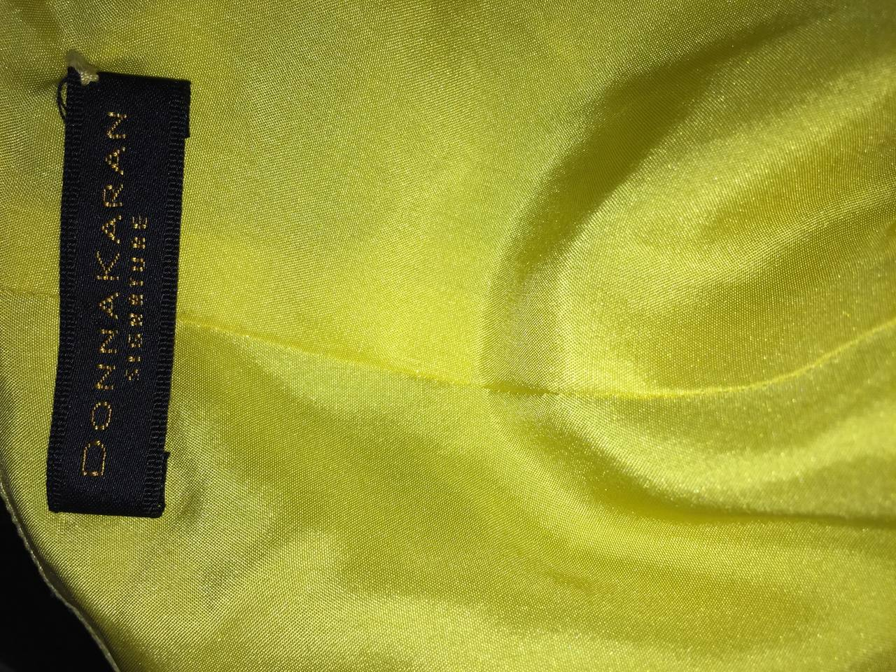 Beautiful 1990s Vintage Donna Karan Canary Yellow Beaded Sequin Silk Dress For Sale 1