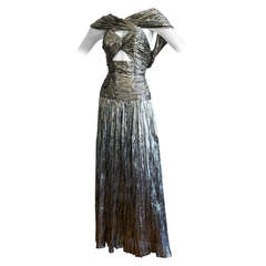 Vintage Ted Lapidus Haute Couture Silver Metallic Sexy Cut Out Gown