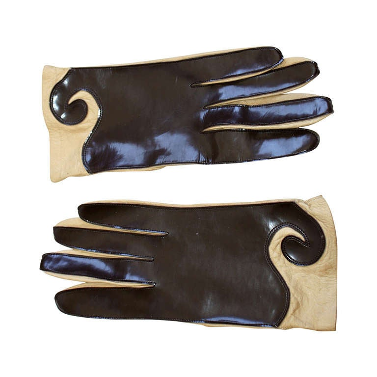 Pierre Cardin 1960s Vintage Space Age Brown/Tan Leather/Vinyl Gloves
