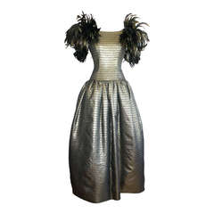 Victor Costa Vintage Gold Gown w/ Feathers Avant Garde