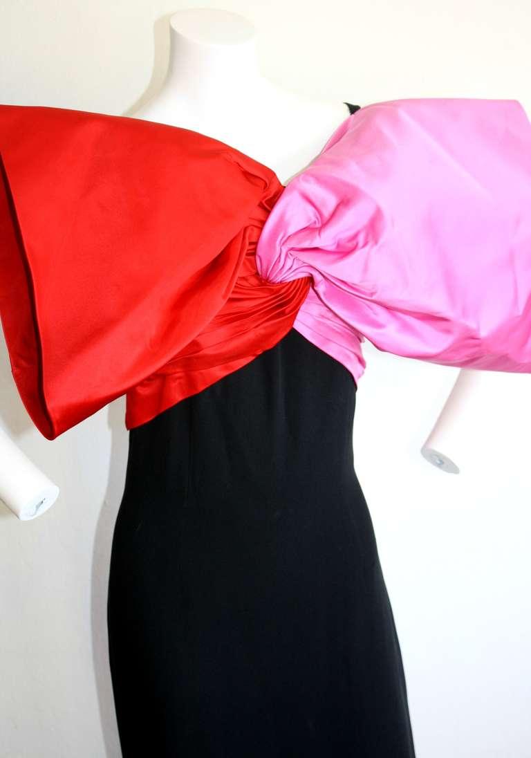 Stunning Vintage Bill Blass Gown Avant Garde Pink + Red Black Bow Dress / Gown 3