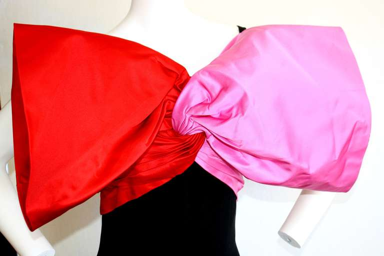 Stunning Vintage Bill Blass Gown Avant Garde Pink + Red Black Bow Dress / Gown In Excellent Condition For Sale In San Francisco, CA