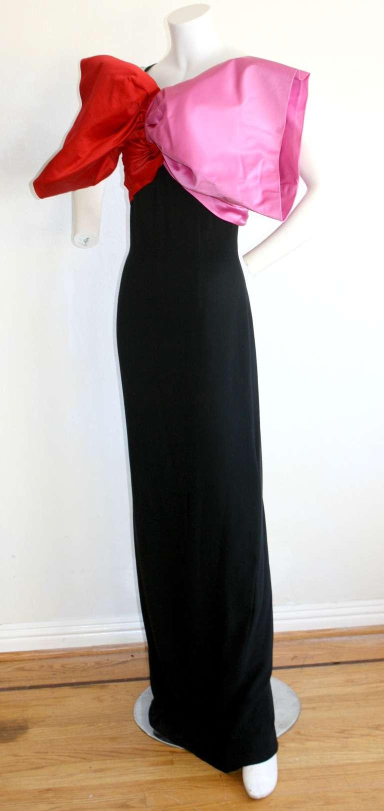 Stunning Vintage Bill Blass Gown Avant Garde Pink + Red Black Bow Dress / Gown 2