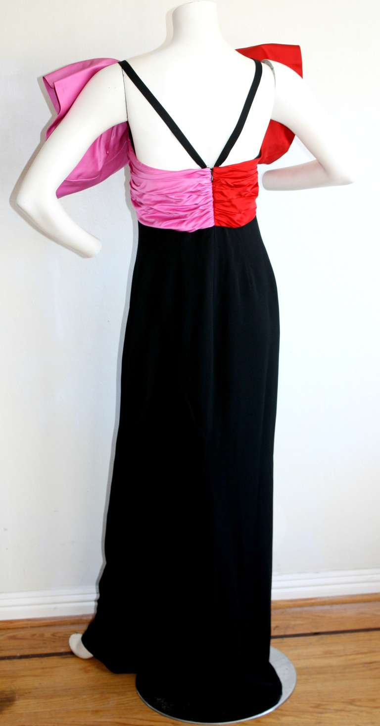 Women's Stunning Vintage Bill Blass Gown Avant Garde Pink + Red Black Bow Dress / Gown For Sale