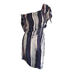 Maeva Striped Watercolor Zipper Dress Made in Italy Hard to Find Designer