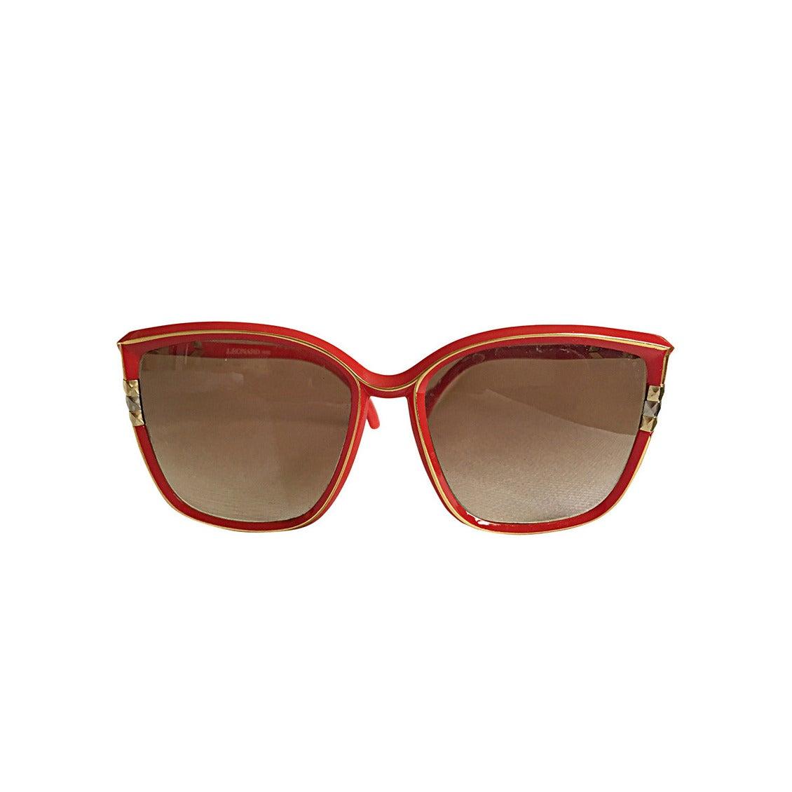 1970s Leonard Vintage Red Cat Eye Oversized Runway Sunglasses / Glasses 1