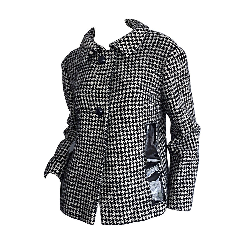 1960s Pierre Cardin Black + White Houndstooth Space Age Jacket For Sale