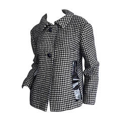 1960s Pierre Cardin Black + White Houndstooth Space Age Jacket
