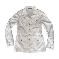 Men's Balenciaga by Nicolas Ghesquiere White Drawstring Safari Jacket