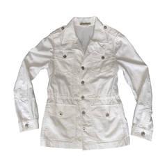 Men's Balenciaga by Nicolas Ghesquiere White Drawstring Safari Jacket