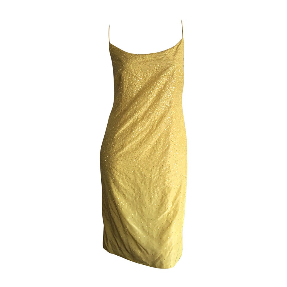 Beautiful 1990s Vintage Donna Karan Canary Yellow Beaded Sequin Silk Dress For Sale