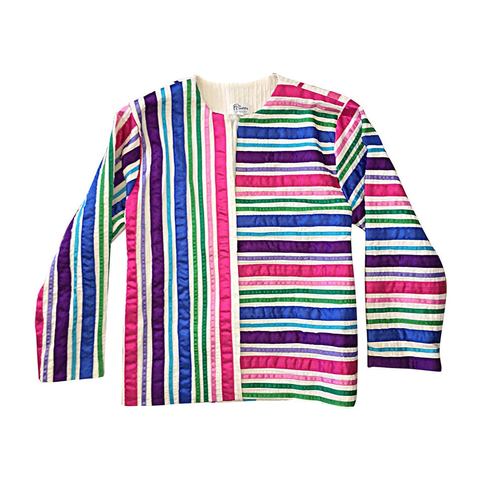 Vintage Tachi Castillo Colorful Cotton Ribbon Jacket ' Made in Mexico '