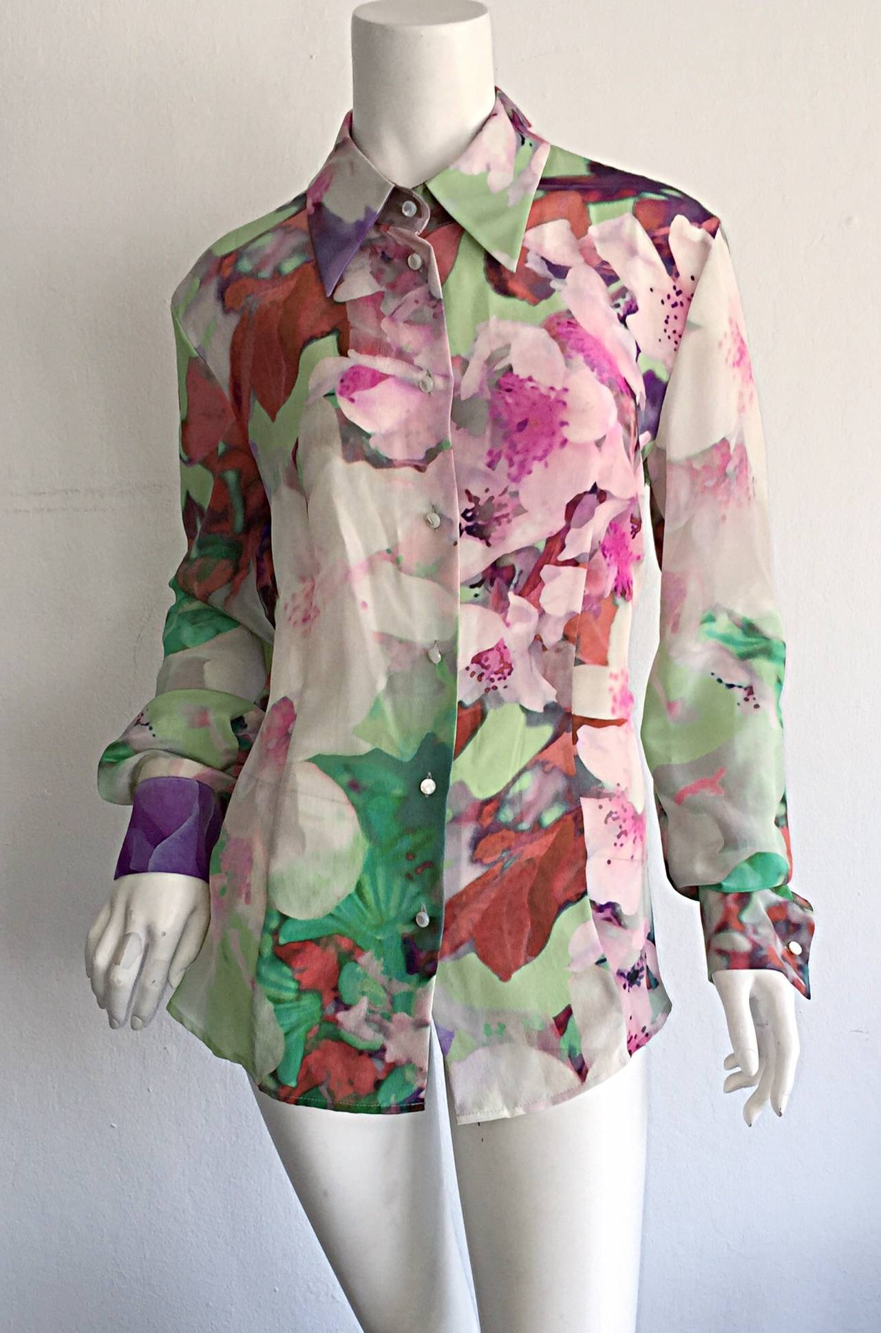 Beautiful Escada Silk Watercolor Blouse w/ Deteachable Neck Tie + Belt 9