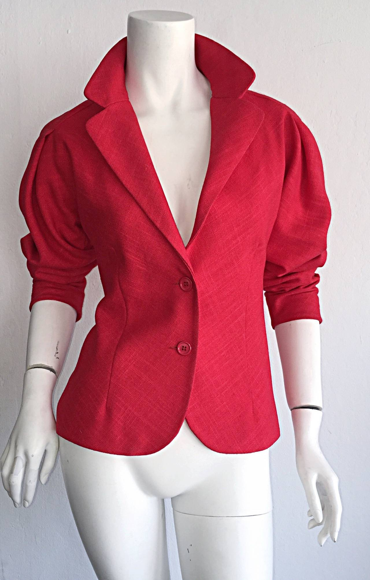 Vintage Halston Candy Apple Red Fitted Linen Blazer Jacket 4