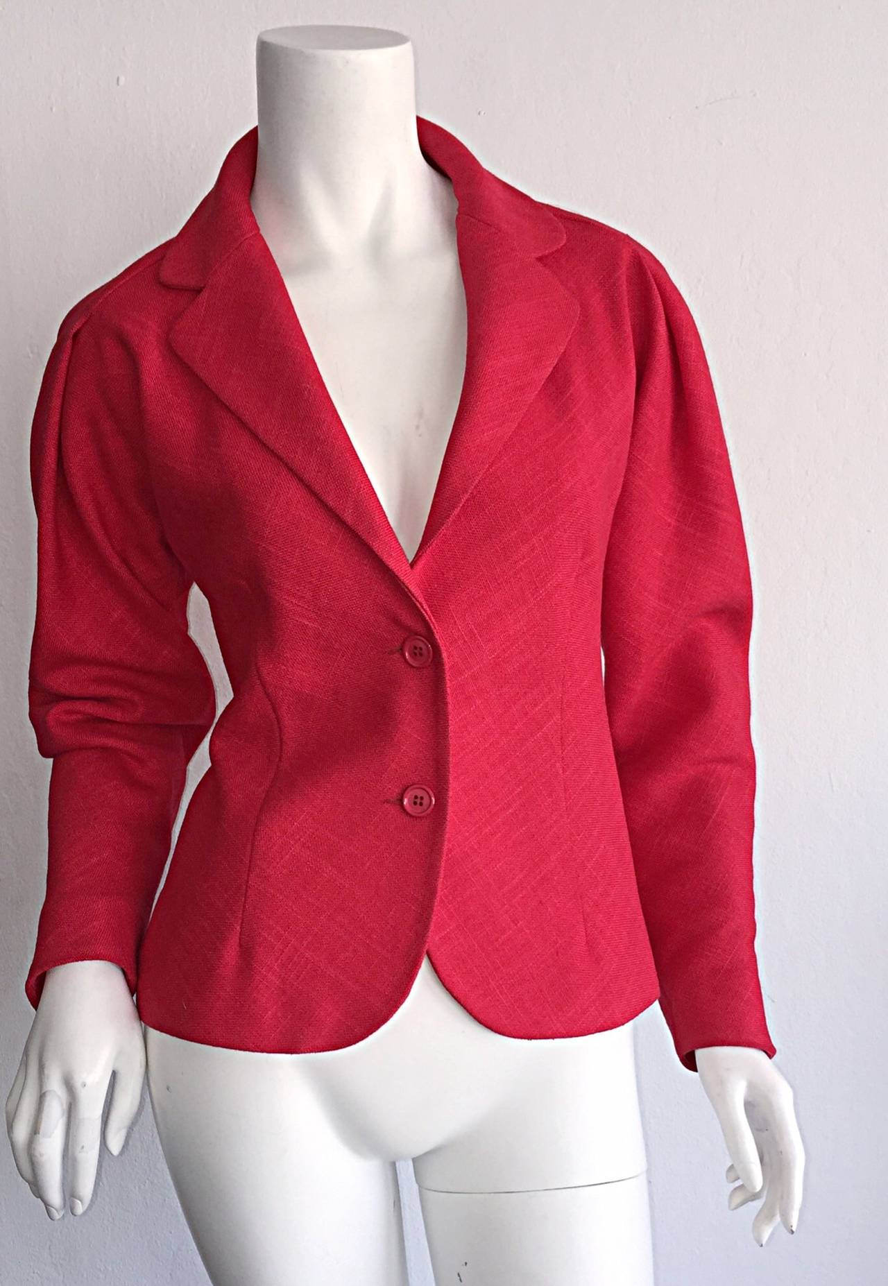 Vintage Halston Candy Apple Red Fitted Linen Blazer Jacket 3