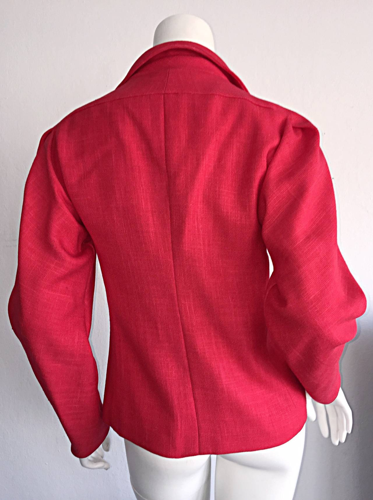 Vintage Halston Candy Apple Red Fitted Linen Blazer Jacket 5
